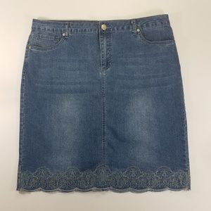 BACCINI Plus Embroidered Denim Skirt Size 14